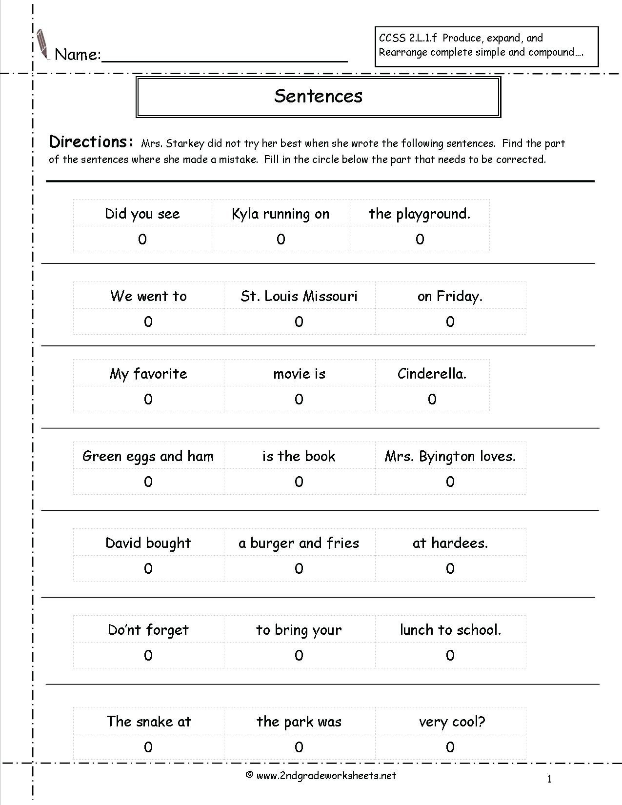 Complete Sentences Worksheets 3rd Grade Types Sentences Worksheets to Download Types Of