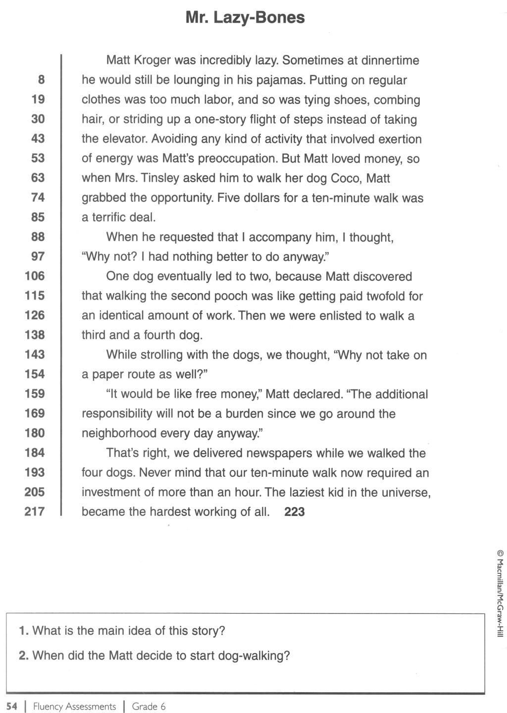 Comprehension Worksheets 6th Grade 6th Fluency Passage 1 1024—1440