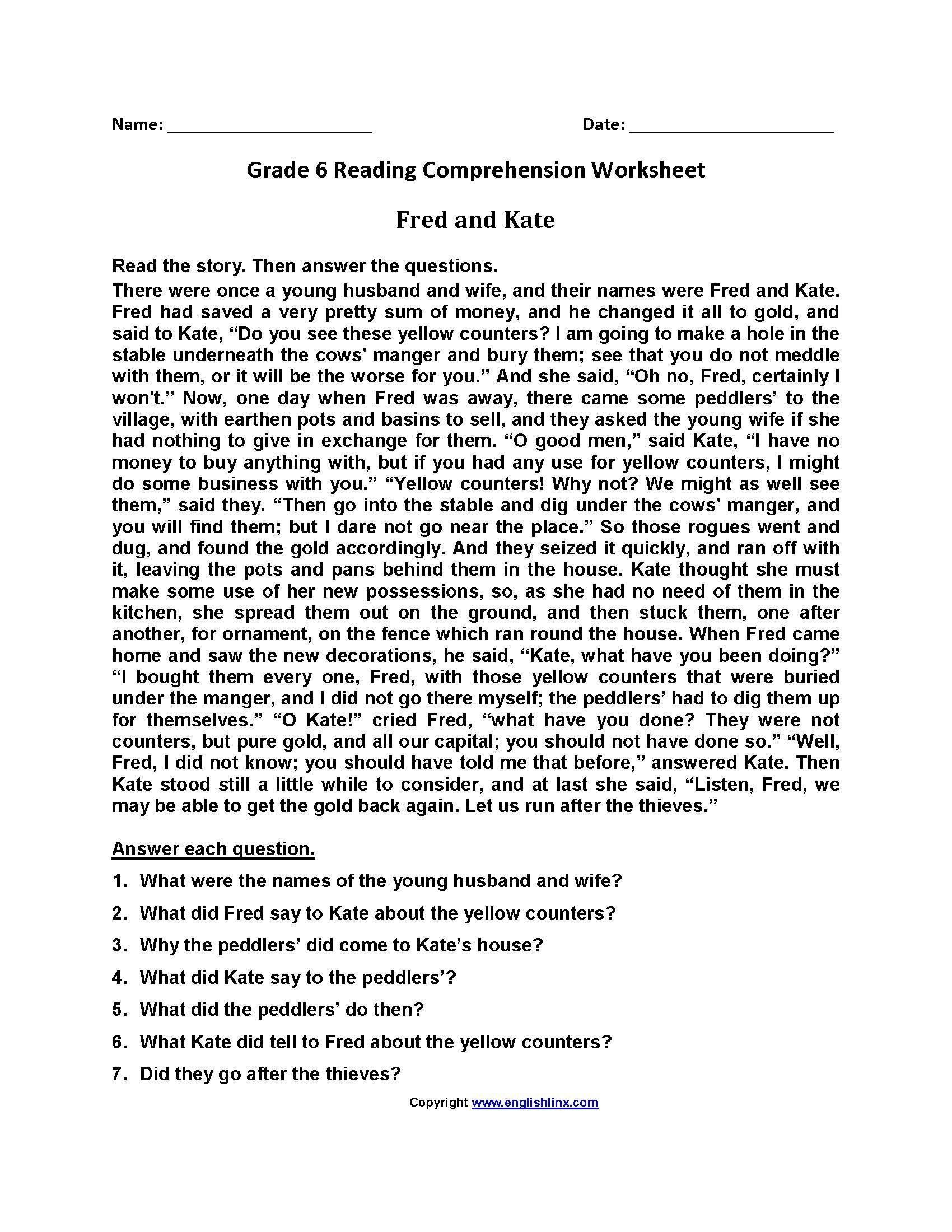 Comprehension Worksheets 6th Grade Free Printable Reading Prehension Worksheets for 6th