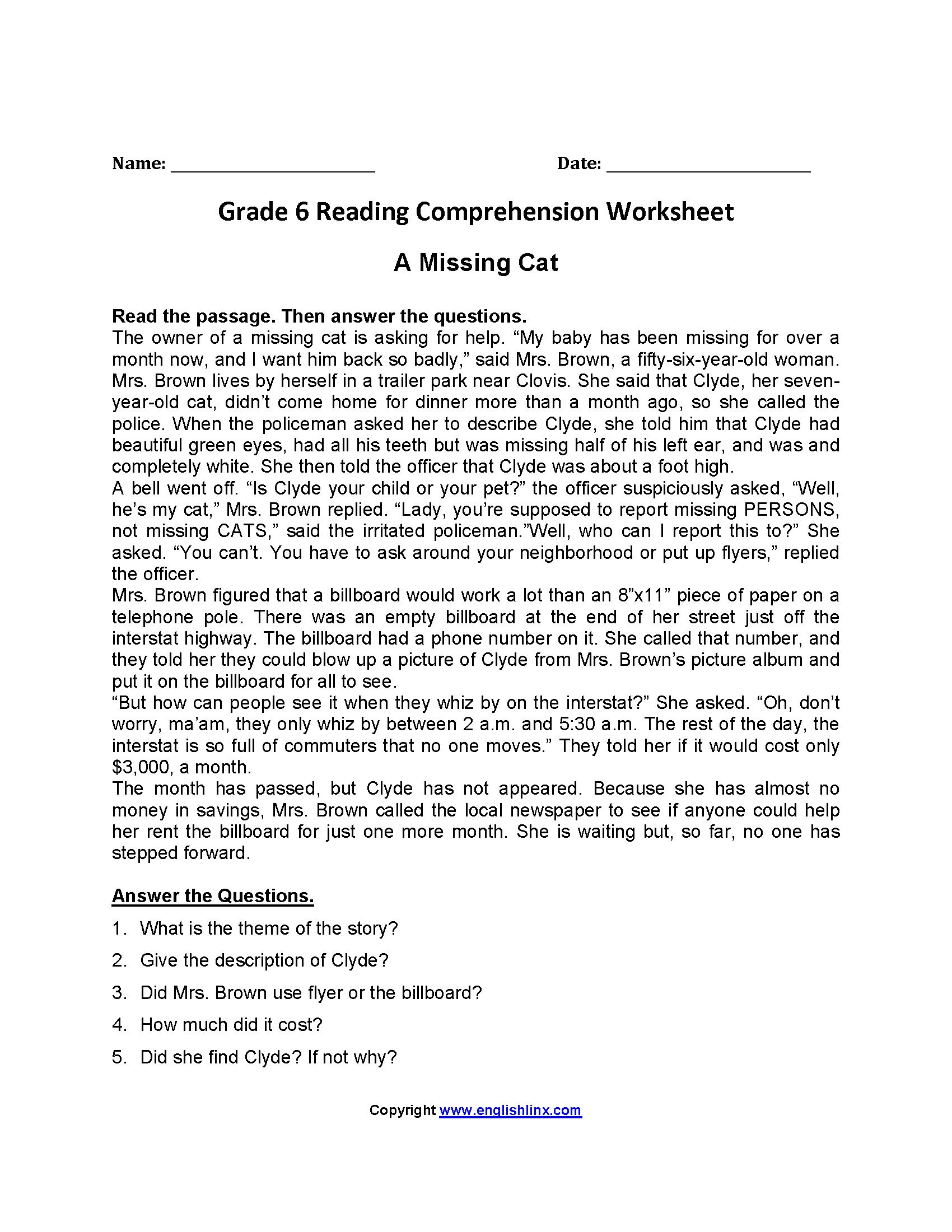 Comprehension Worksheets 6th Grade Sixth Grade Worksheets