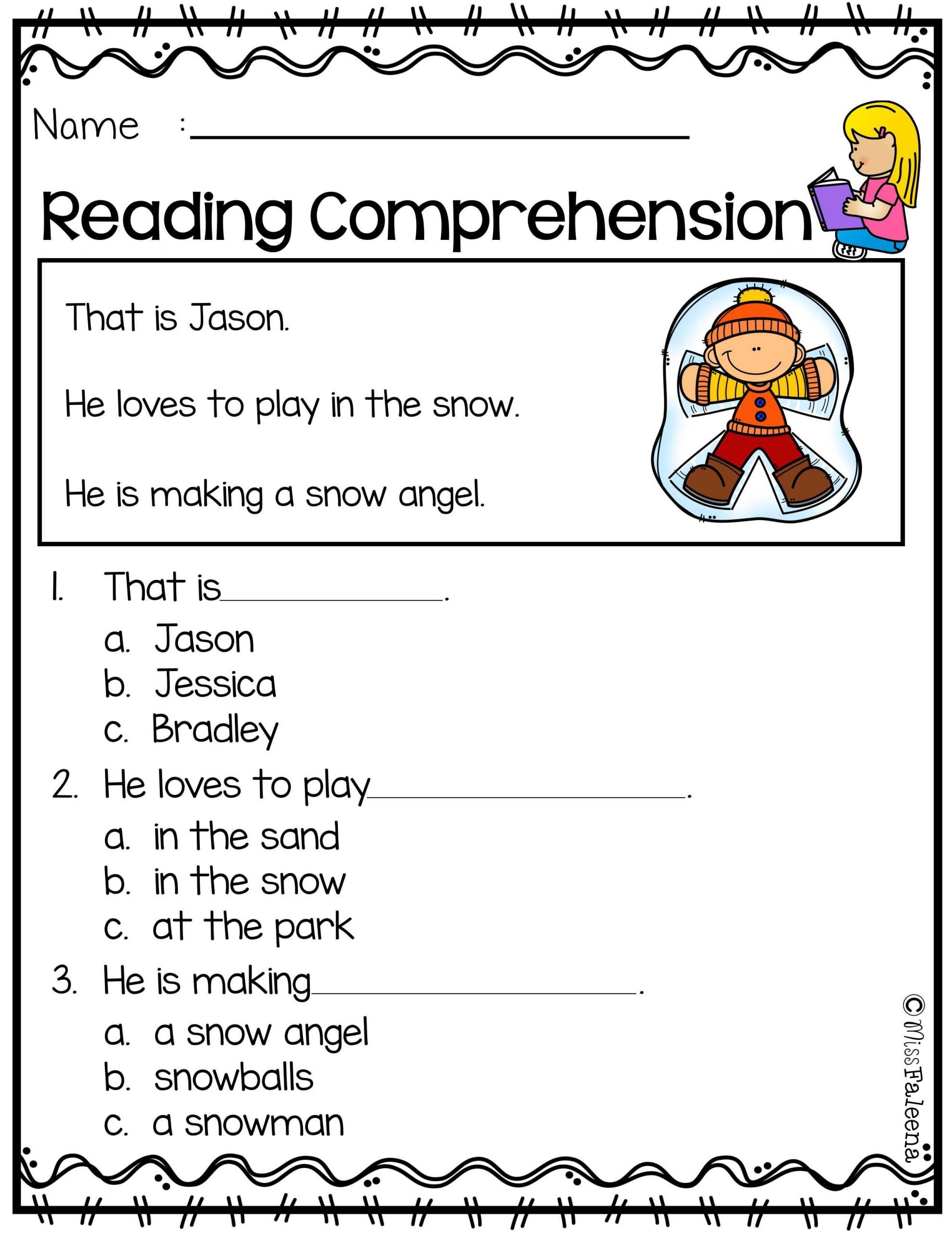 Comprehension Worksheets for Kindergarten Free Reading Prehension