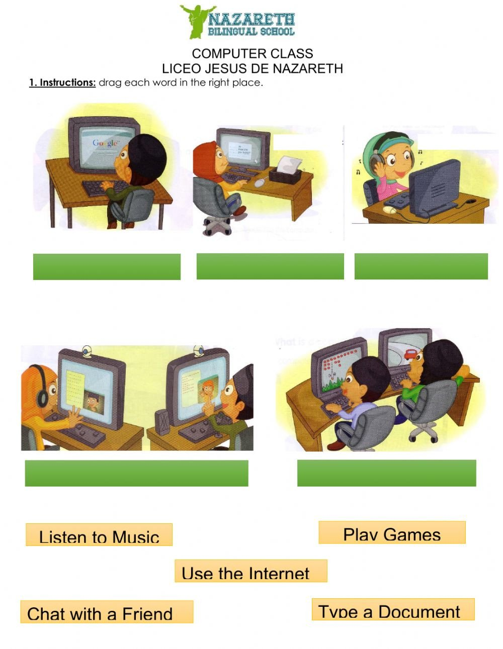 Computer Worksheets for Grade 1 Uses Of Puter Interactive Worksheet