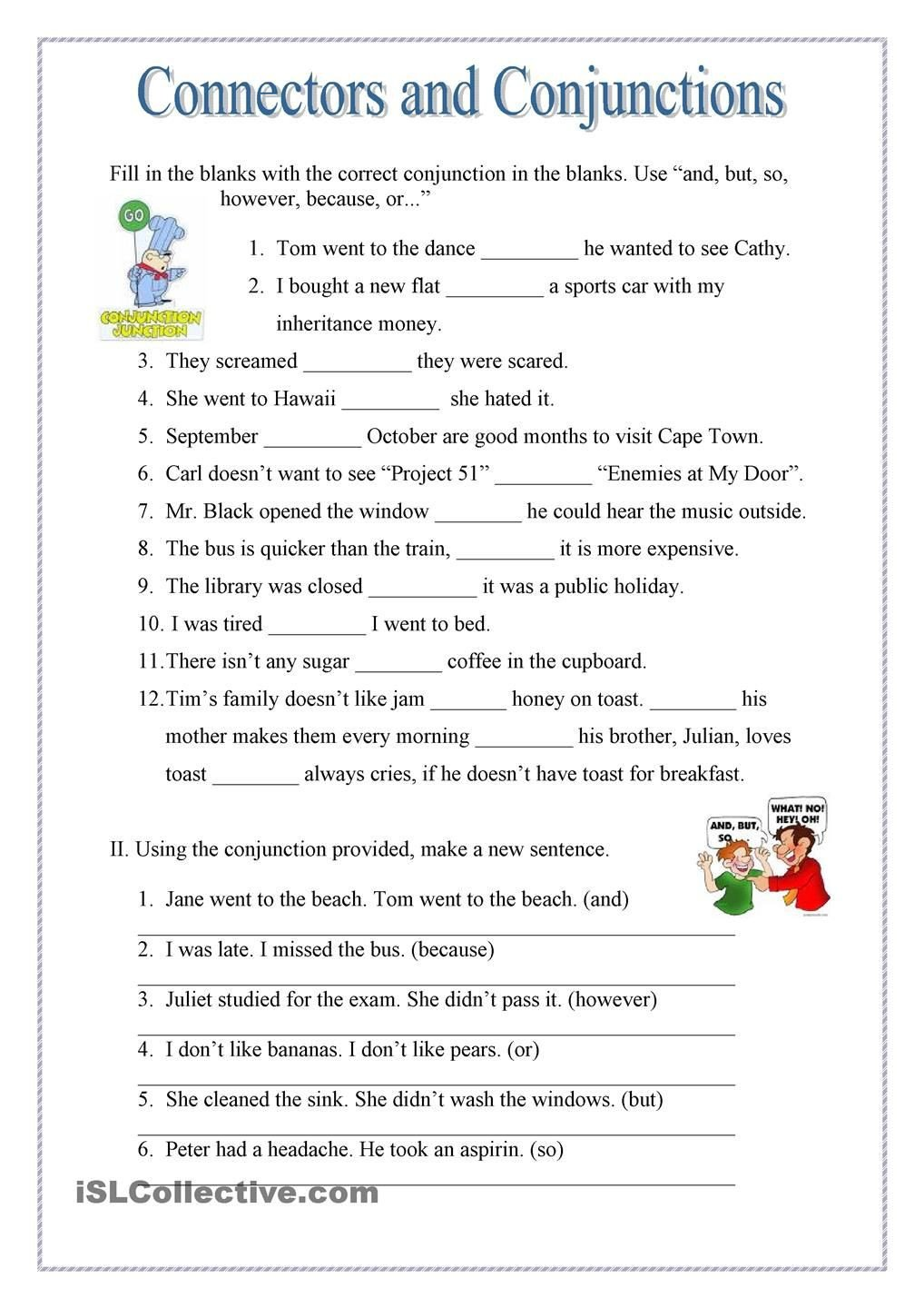 Conjunctions Worksheets for Grade 3 Conjuctions and Connectors