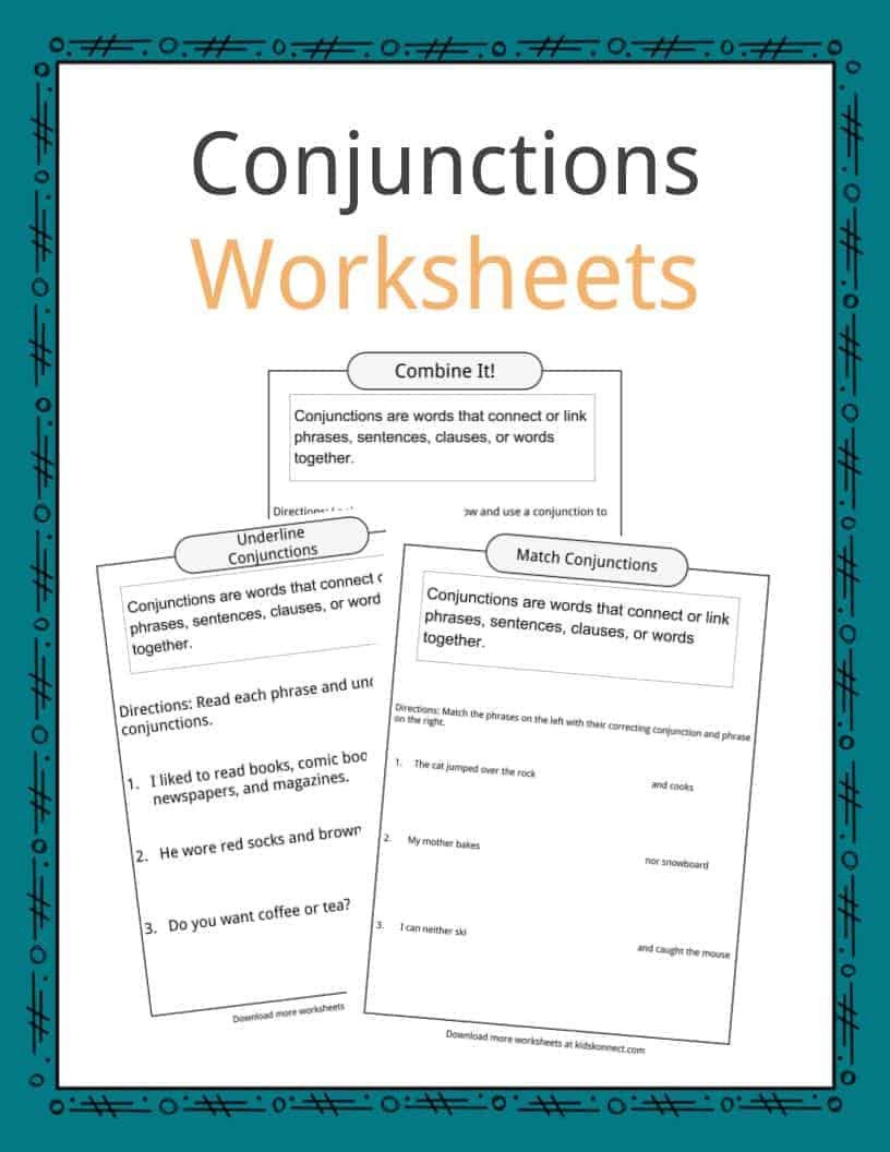 Conjunctions Worksheets for Grade 3 Conjunctions Examples Definition & Worksheets for Kids