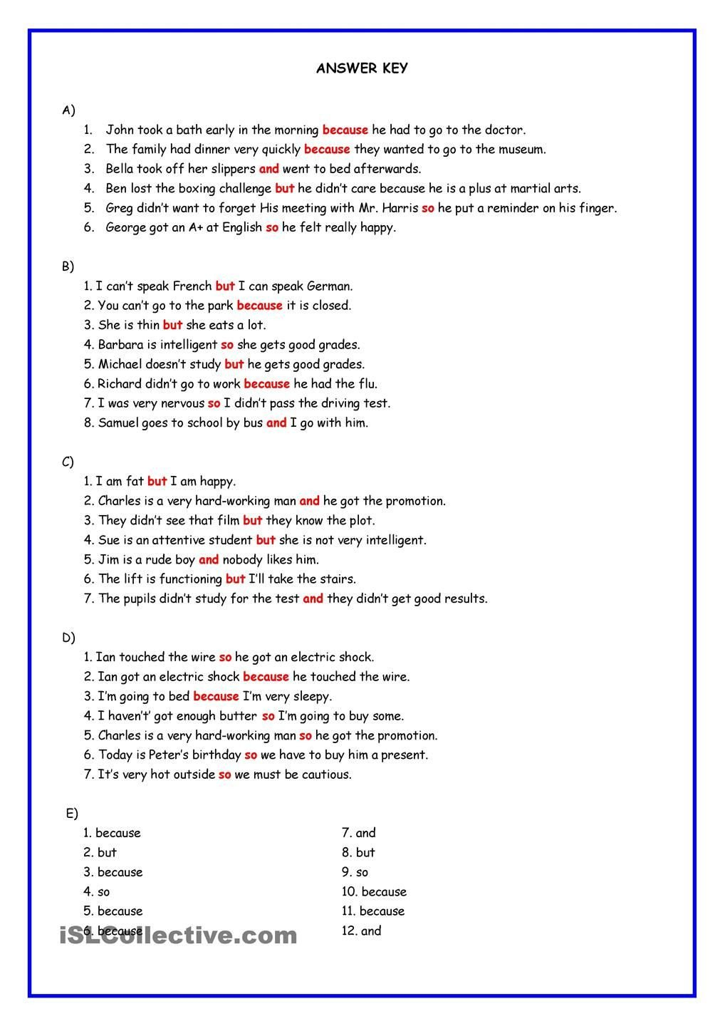 Conjunctions Worksheets for Grade 3 Connectors and but because so