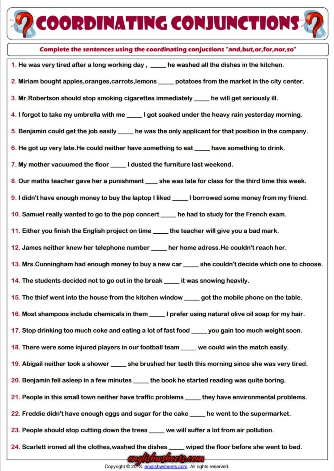 Conjunctions Worksheets for Grade 3 Coordinating Conjunctions Esl Printable Grammar Worksheet