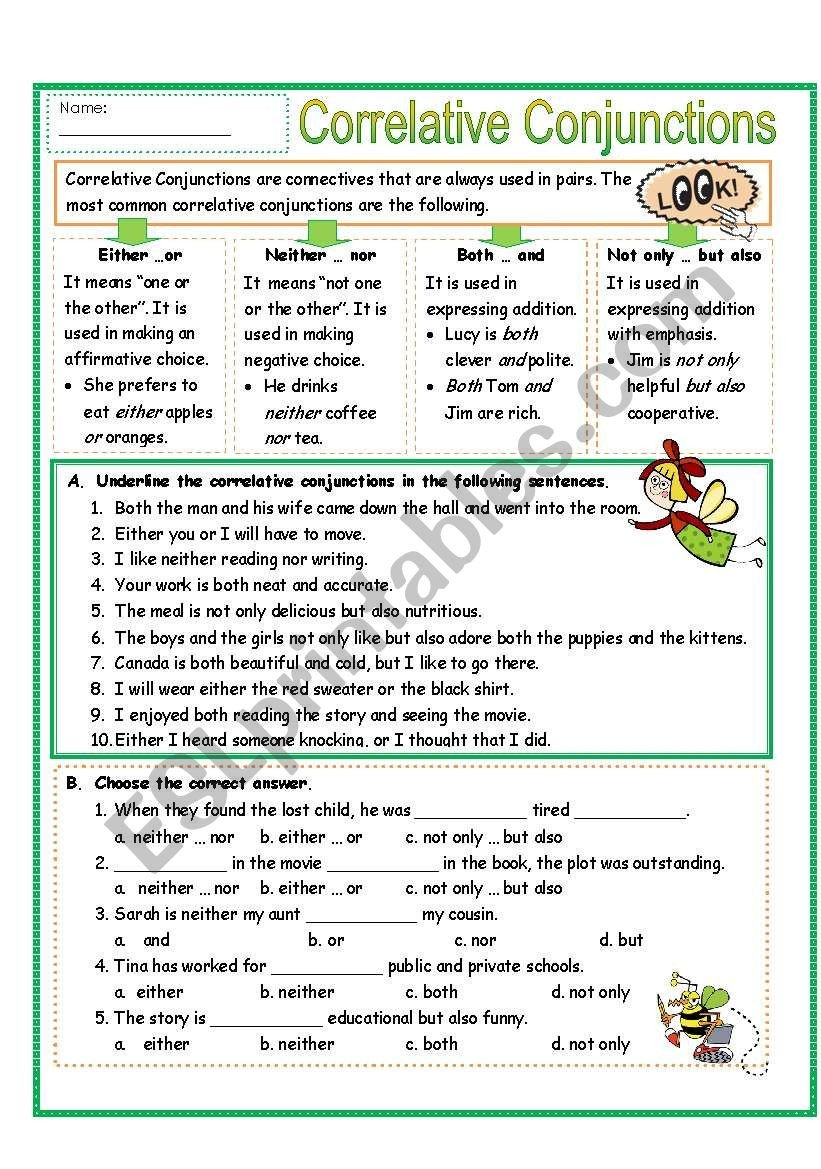 Conjunctions Worksheets for Grade 3 Correlative Conjunctions Lessons Tes Teach