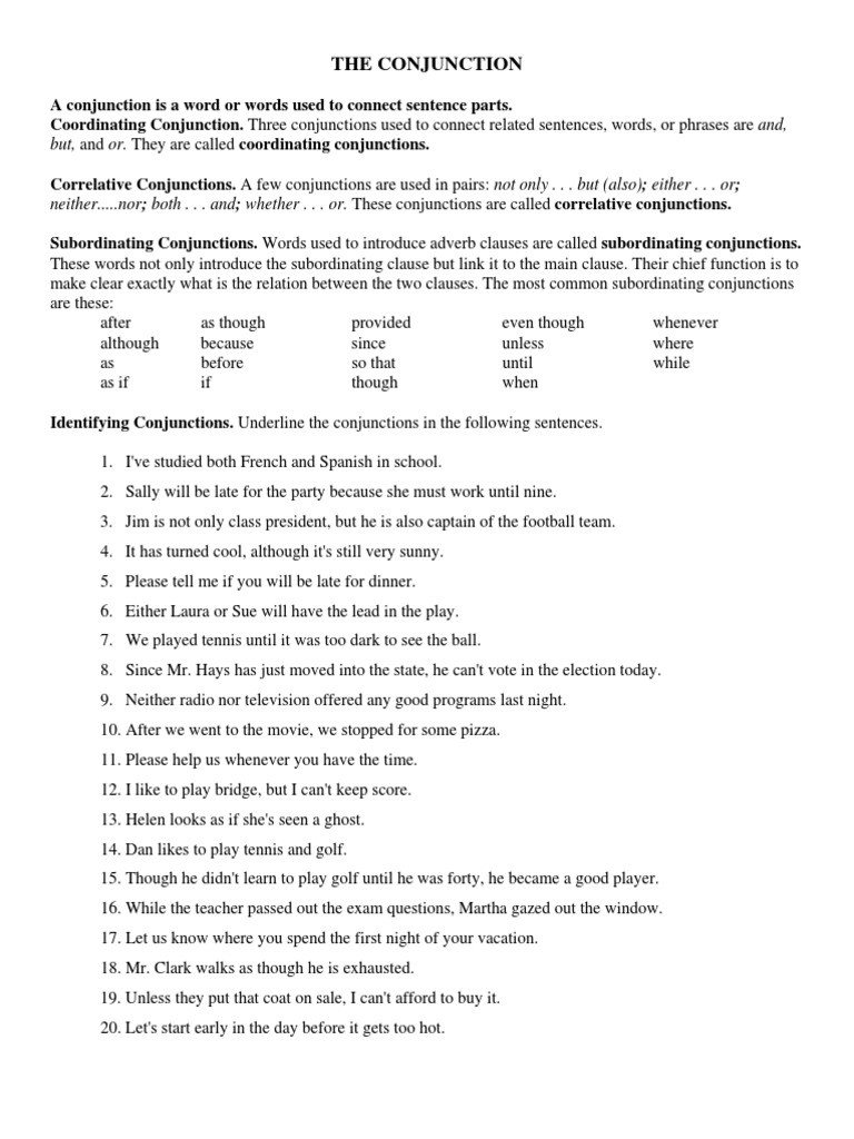 Correlative Conjunctions Worksheets Pdf Conjunction Worksheets Pdf Style Fiction