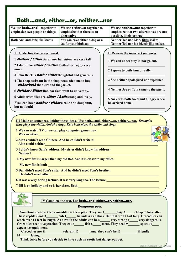 Correlative Conjunctions Worksheets with Answers Both D Either or Neither nor Exercises