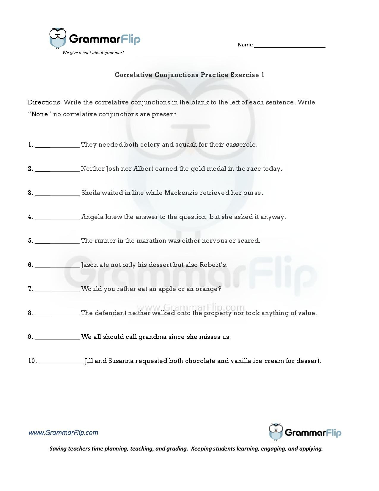 Correlative Conjunctions Worksheets with Answers Correlative Conjunctions