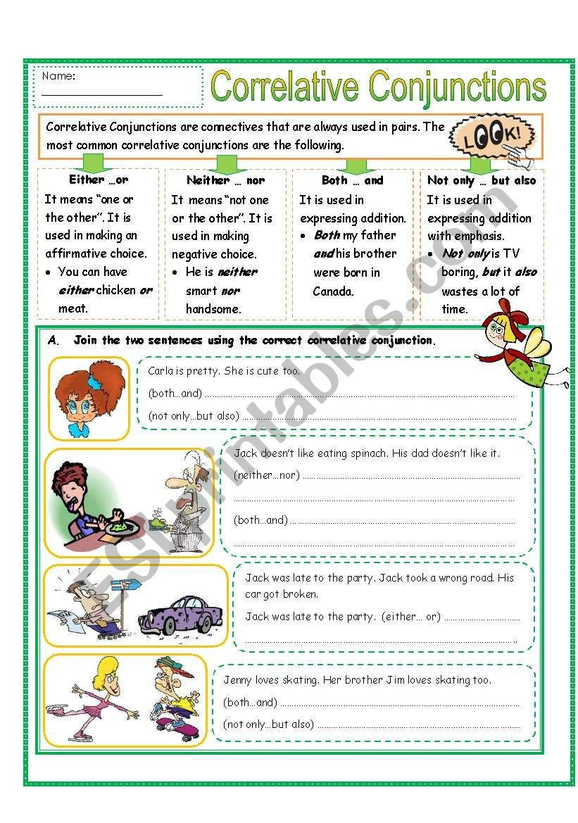 Correlative Conjunctions Worksheets with Answers Correlative Conjunctions Part 2 Esl Worksheet by Missola