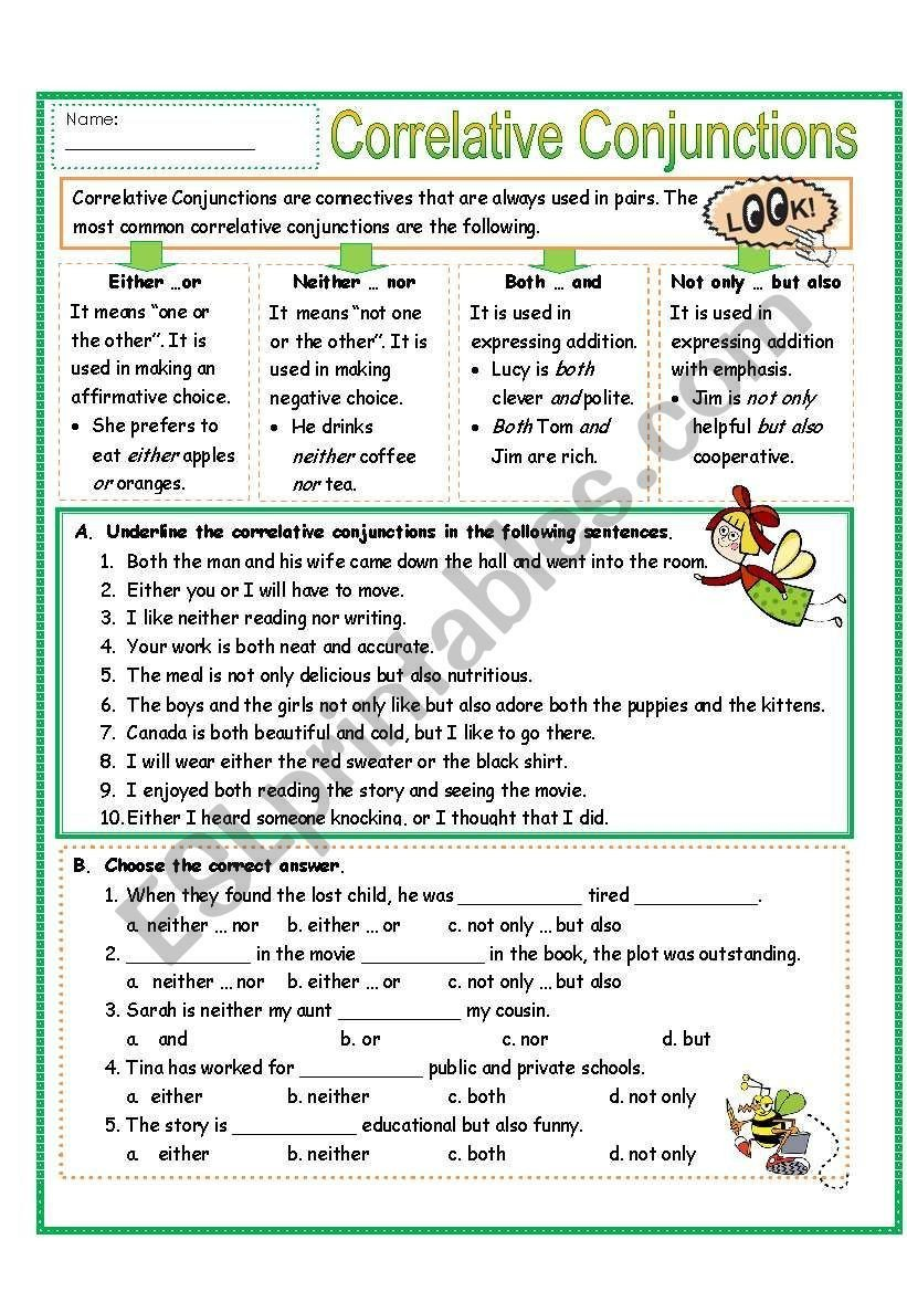 Correlative Conjunctions Worksheets with Answers Correlative Conjunctions Worksheets