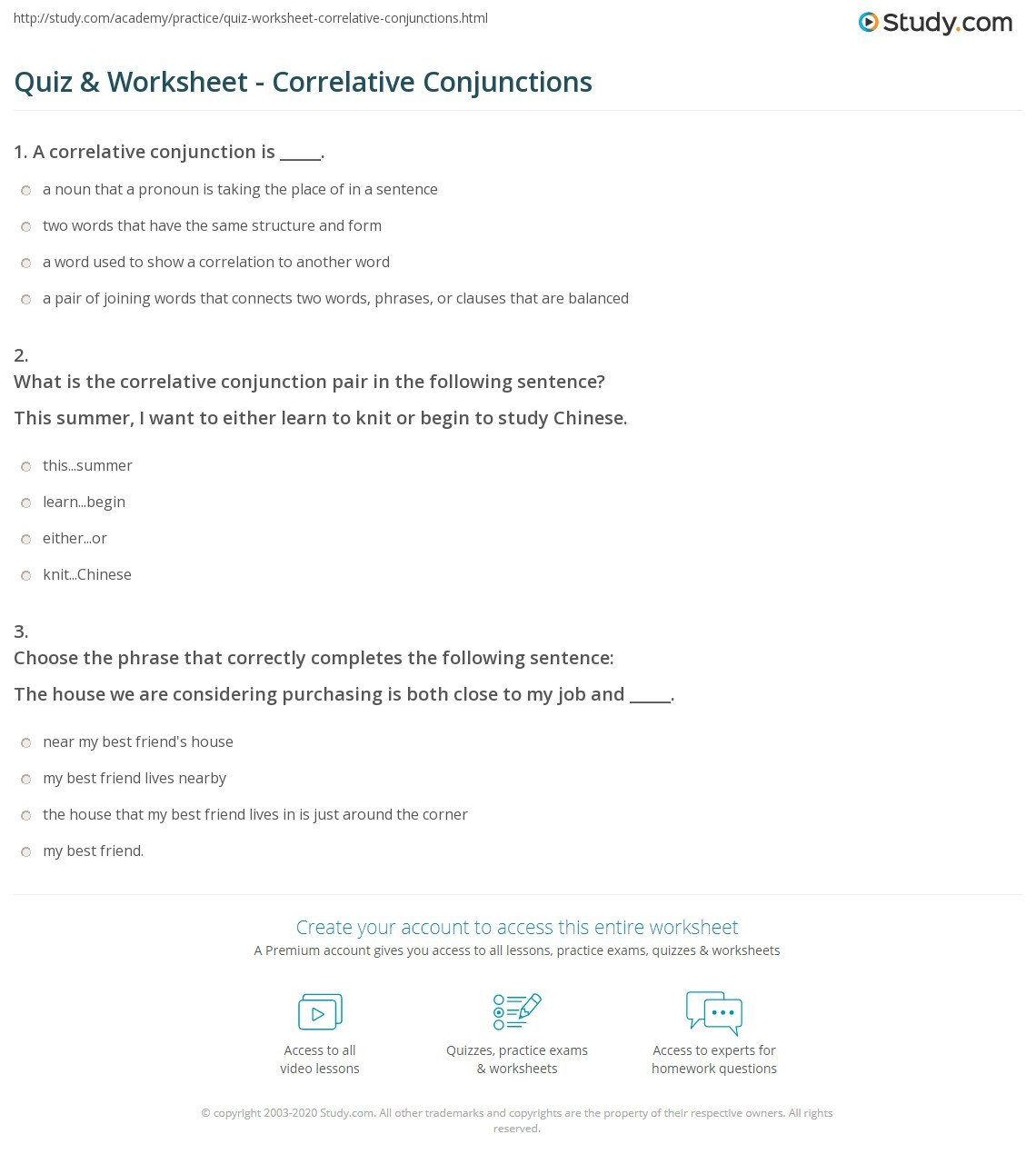 Correlative Conjunctions Worksheets with Answers Quiz & Worksheet Correlative Conjunctions