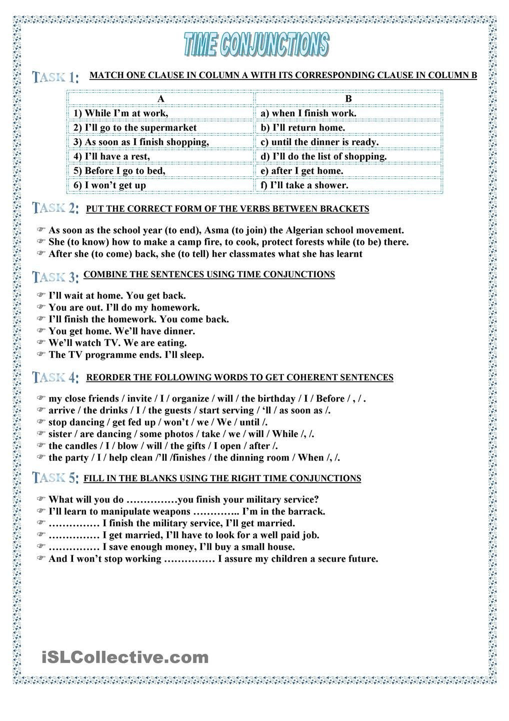 Correlative Conjunctions Worksheets with Answers Time Conjunctions