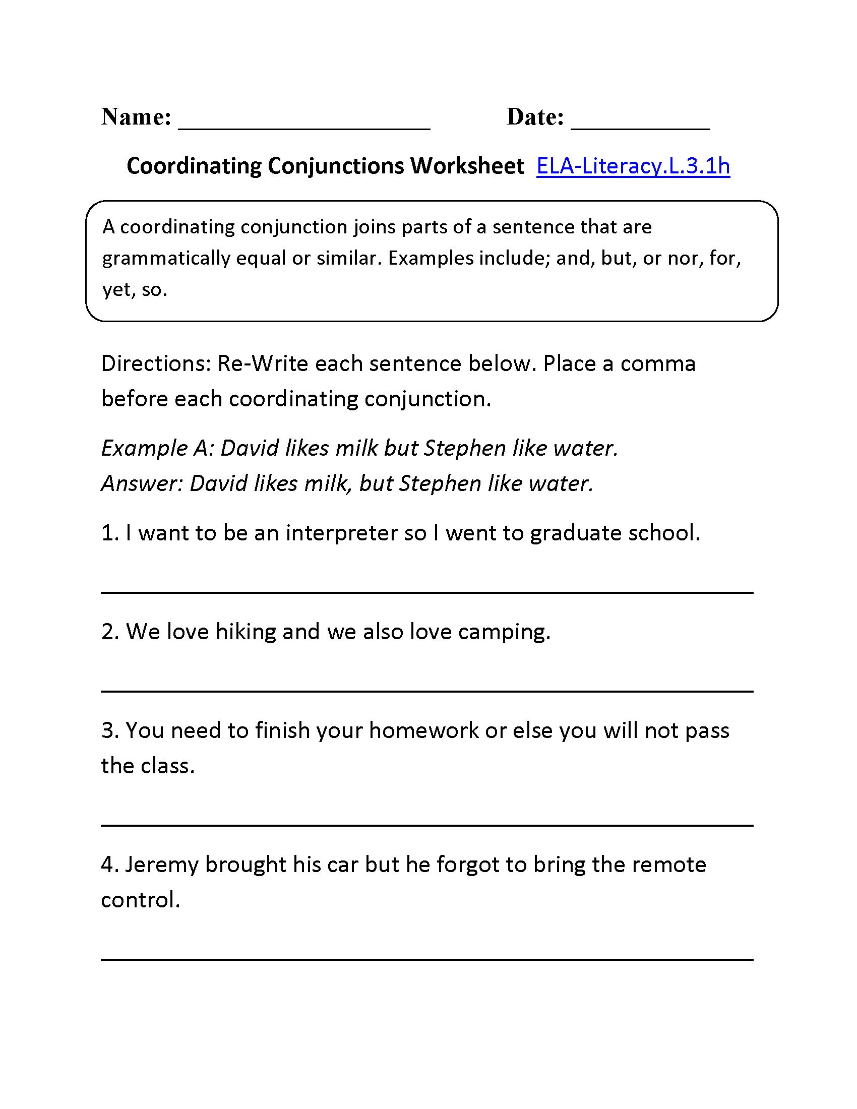Correlative Conjunctions Worksheets with Answers Using Conjunctions Worksheet