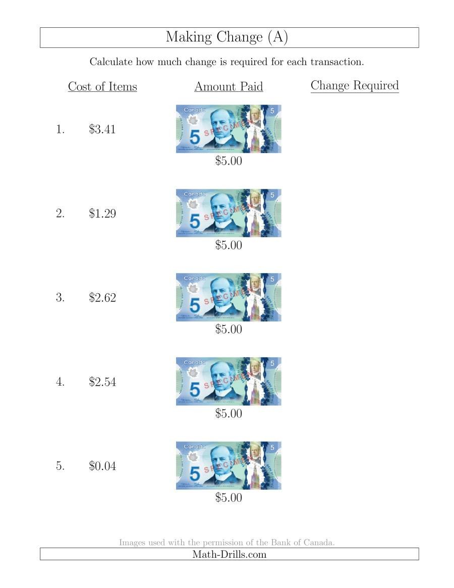 Counting Change Back Worksheets Making Change From Canadian $5 Bills A