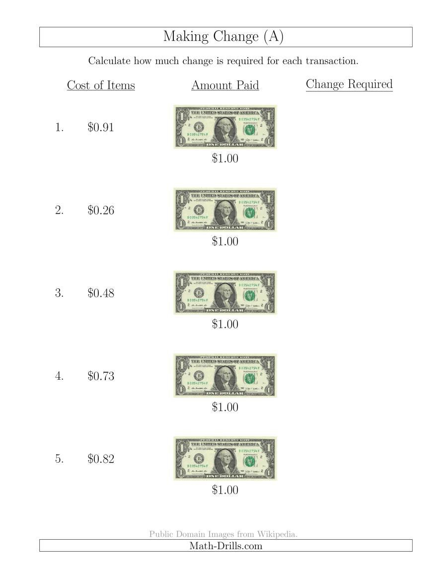 Counting Change Back Worksheets Making Change From U S $1 Bills A