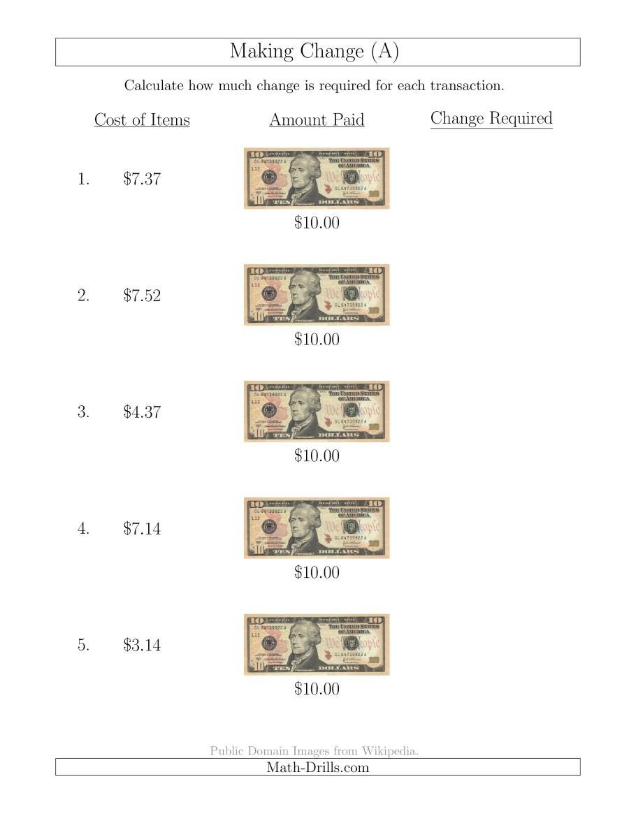 Counting Change Back Worksheets Making Change From U S $10 Bills A
