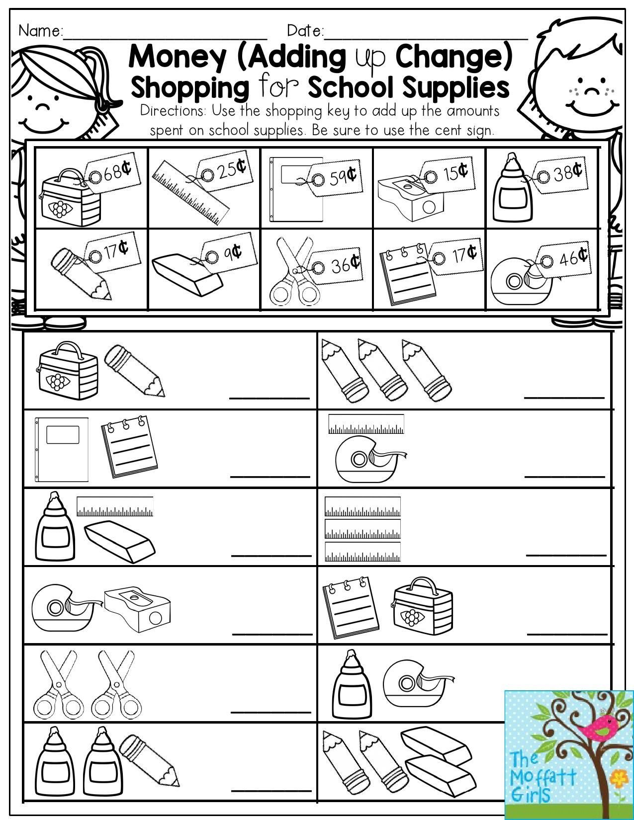Counting Change Back Worksheets Money Adding Up Change Shopping for School Supplies Fun