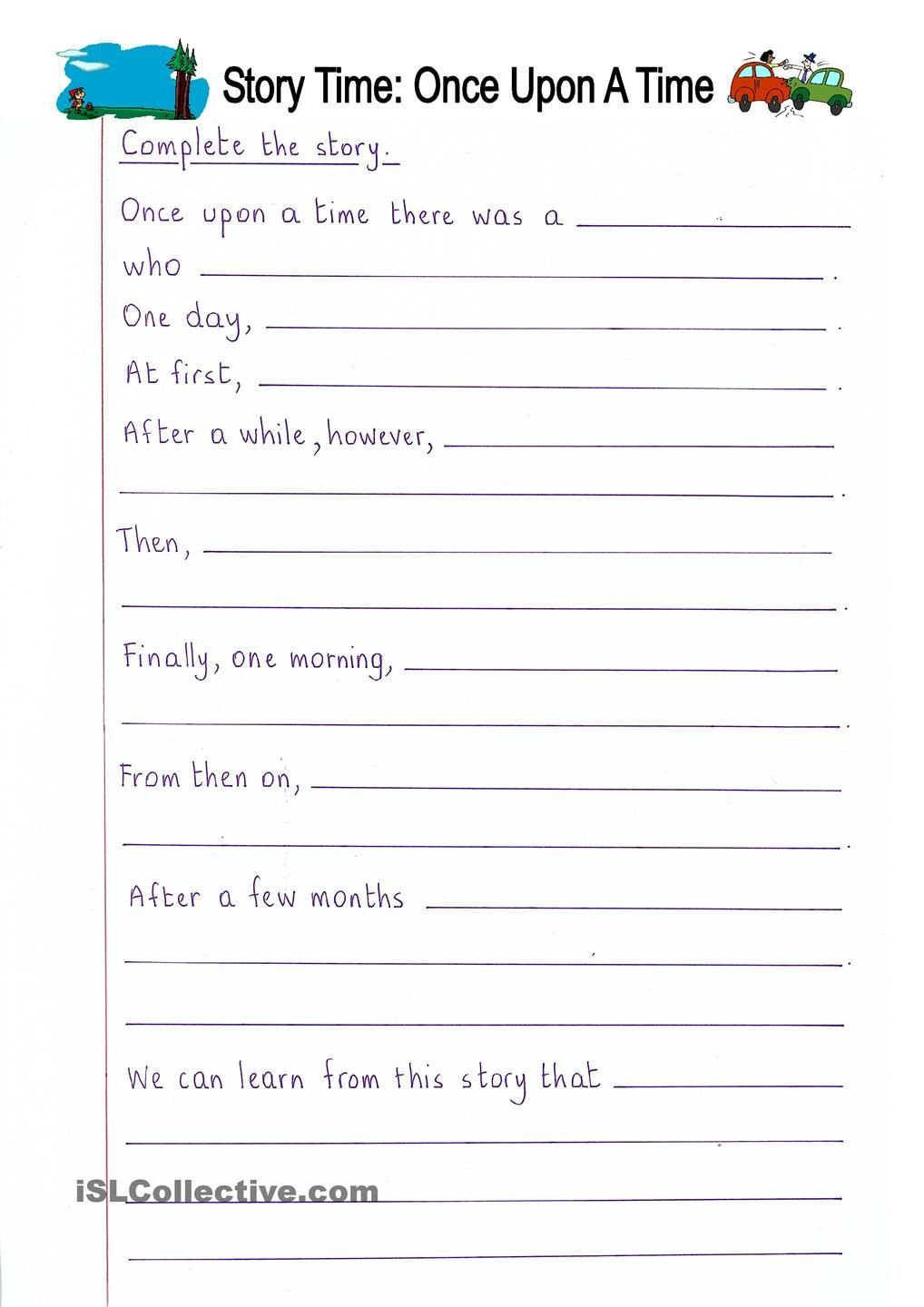 Creative Writing Worksheets for Adults Read and Plete Ce Upon Time Writing Year Creative