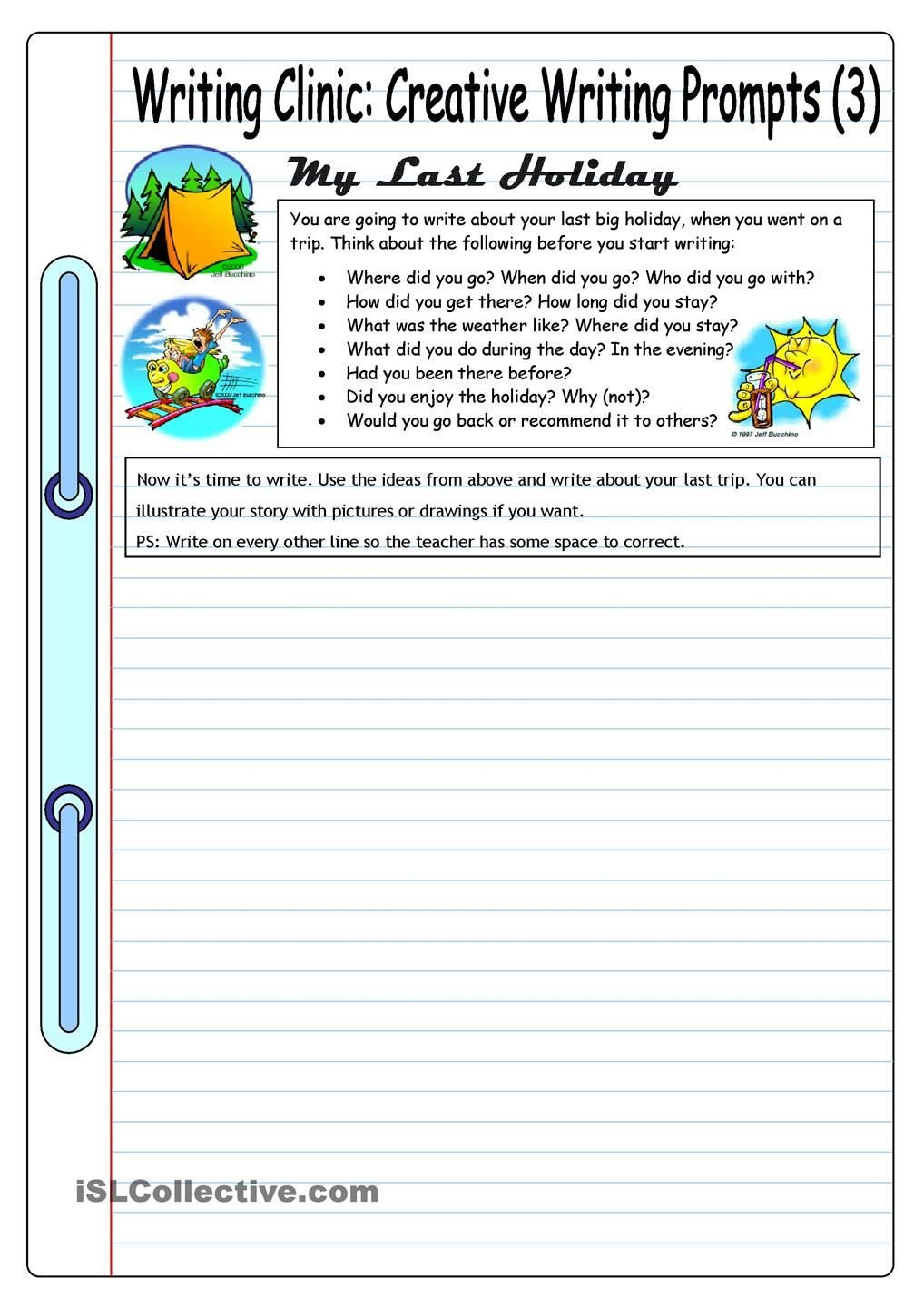 Creative Writing Worksheets for Adults Writing Clinic Creative Writing Prompts 3 My Last