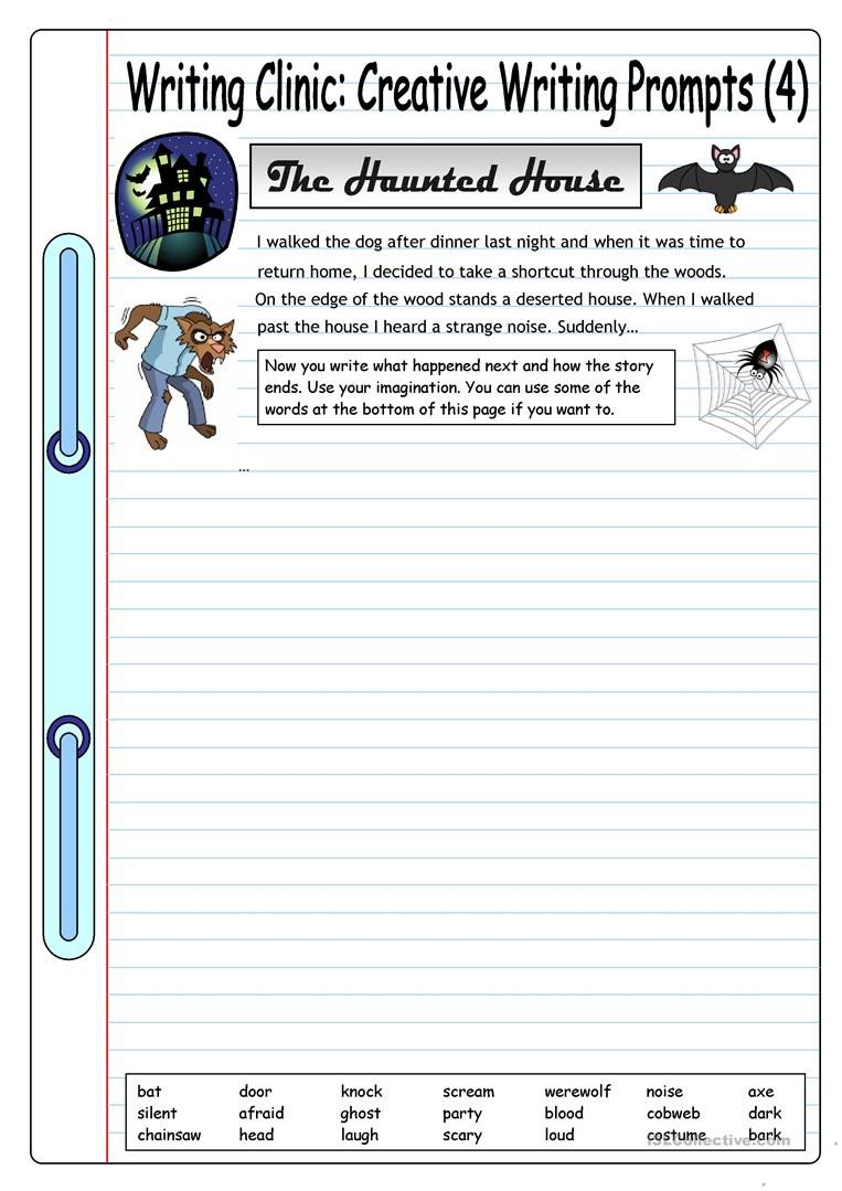 Creative Writing Worksheets for Adults Writing Clinic Creative Writing Prompts 4 the Haunted