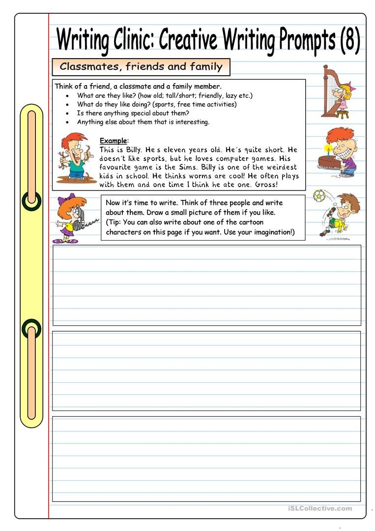 Creative Writing Worksheets for Adults Writing Clinic Creative Writing Prompts 8 Friends