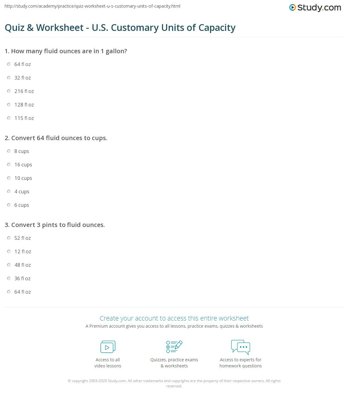 quiz worksheet u s customary units of capacity
