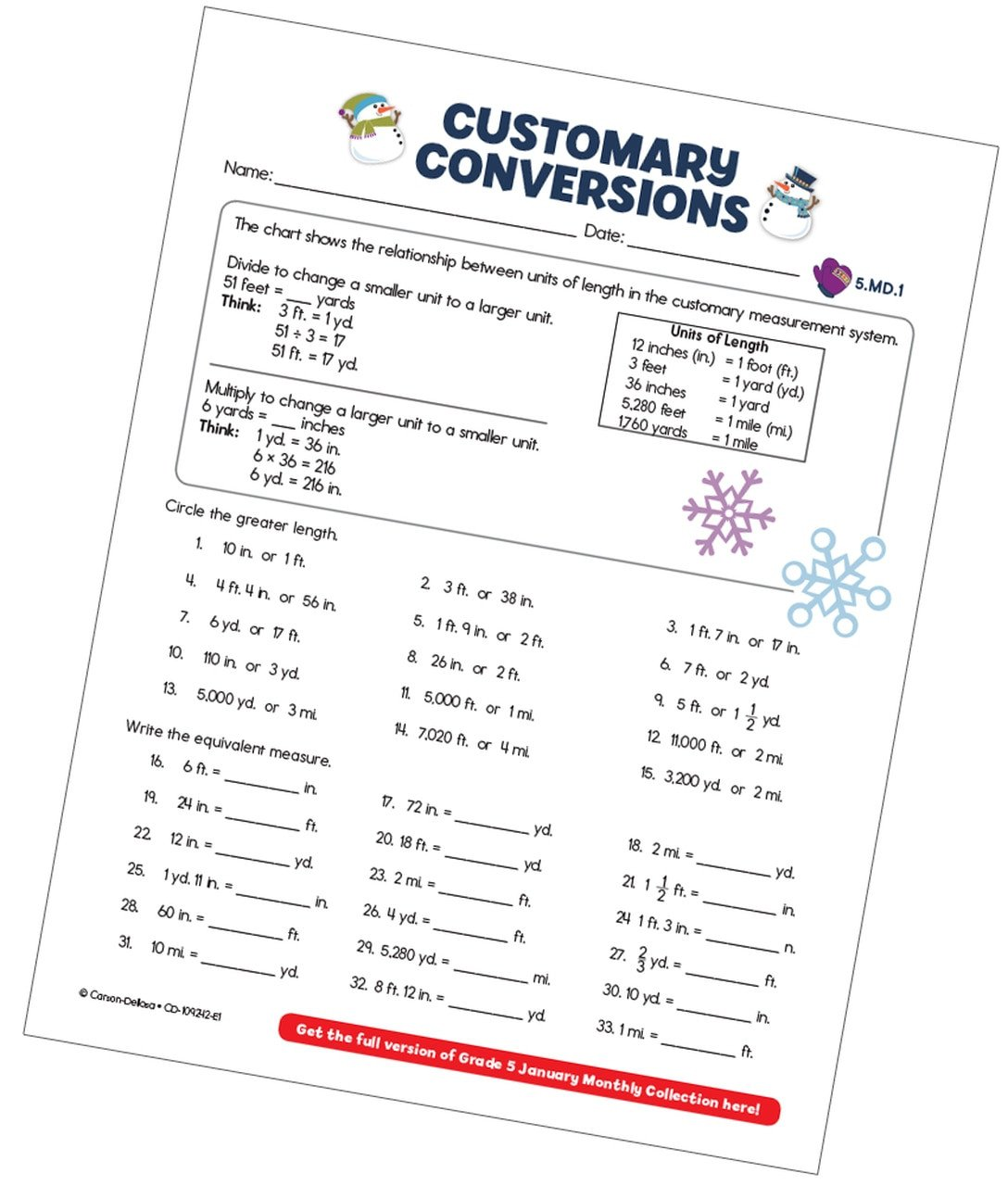 Customary Units Worksheet Customary Conversions Measurement Free Printable Carson