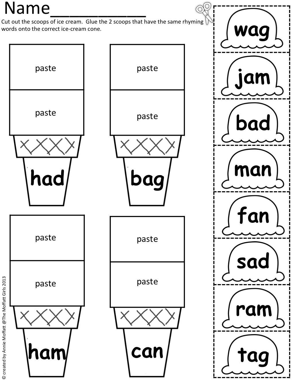 Cvc Cut and Paste Worksheets Cvc Scoops