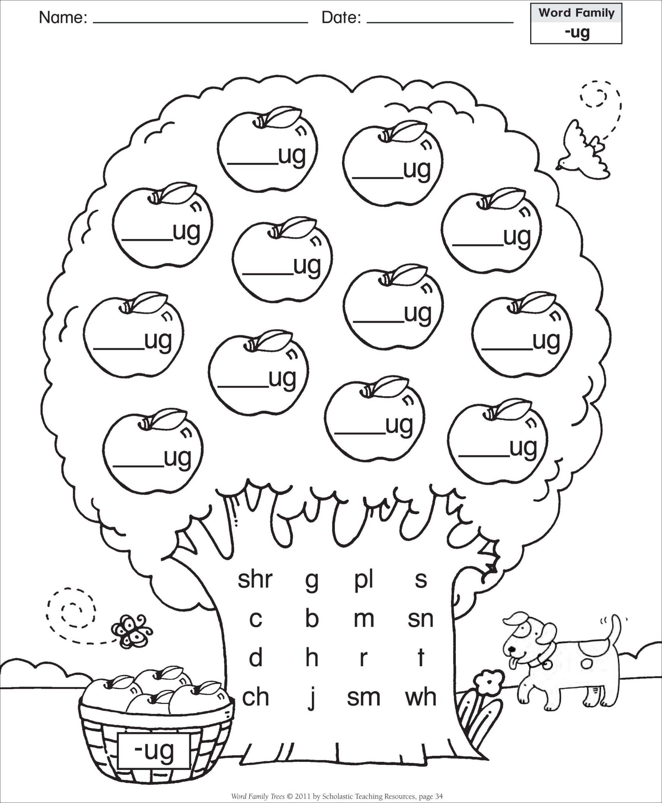 Cvc Cut and Paste Worksheets Short Vowel Ug Word Family Tree Families Reading Free Cvc