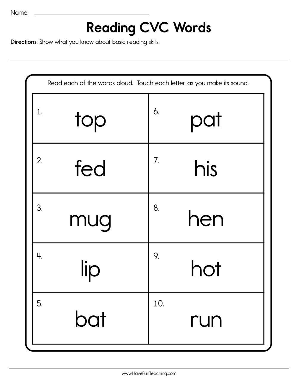 Cvc Words Worksheet Kindergarten Reading Cvc Words Worksheet