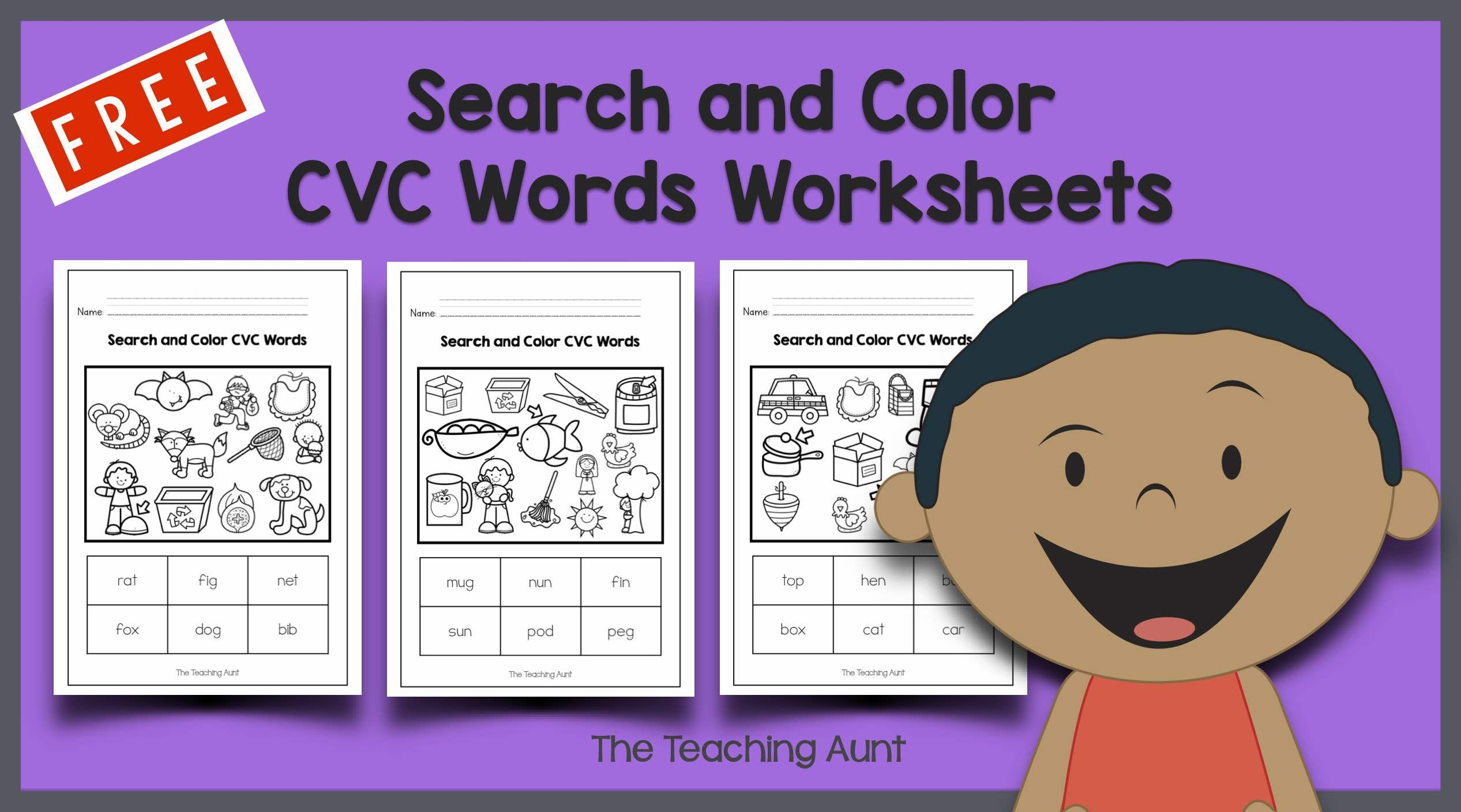 Cvc Words Worksheets Pdf Search and Color Cvc Words Worksheets the Teaching Aunt