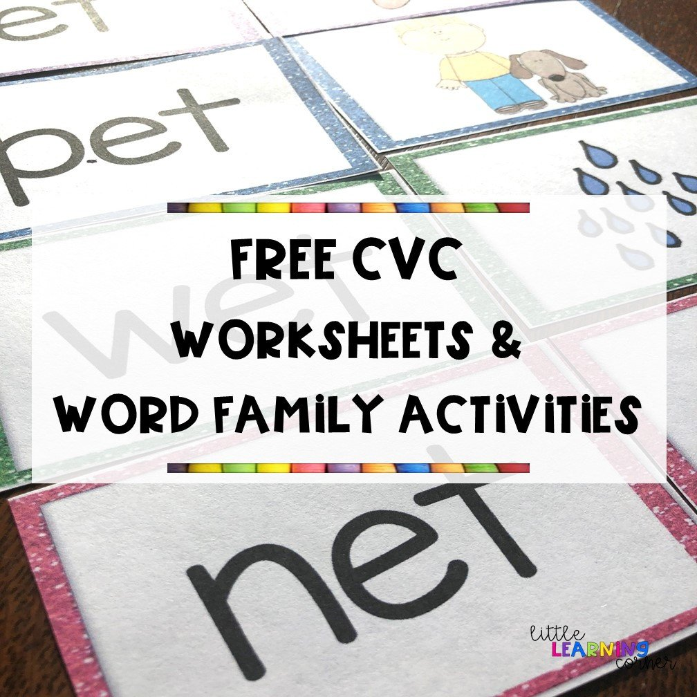 Cvc Worksheet Kindergarten 13 Free Cvc Worksheets and Word Family Activities