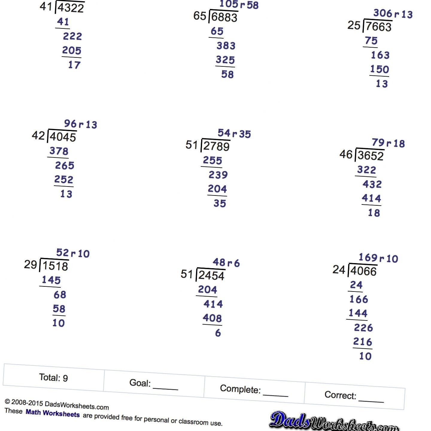 Decimal Long Division Worksheet Free Printable Division Worksheets with Multiple Digit Multi