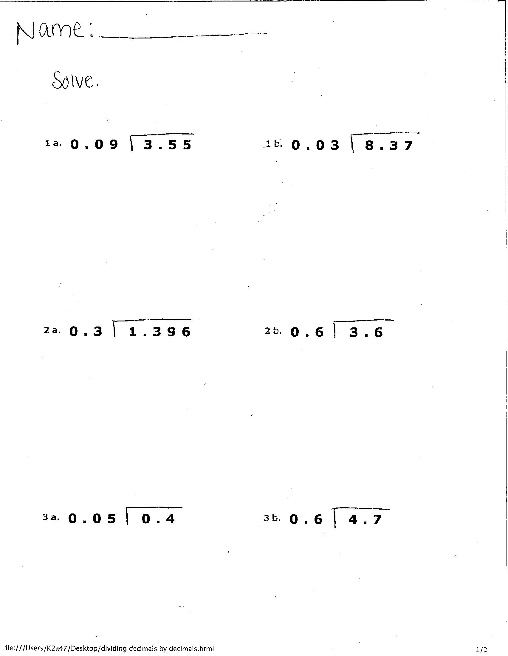 Decimal Long Division Worksheet World 2 Decimals Osky 6th Grade Math