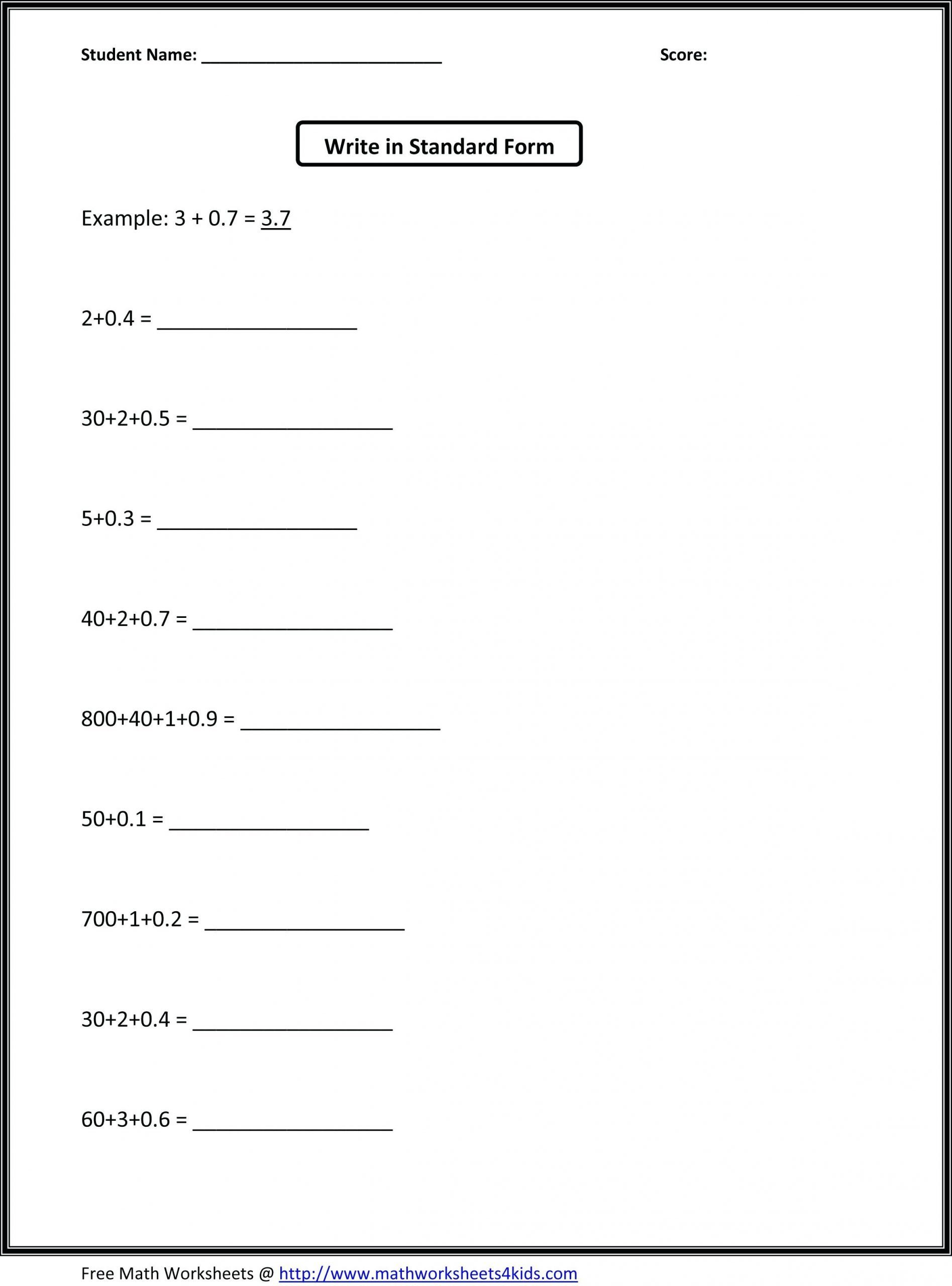Decimals Expanded form Worksheet 5th Grade Place Value Worksheets Awesome Collection Fifth