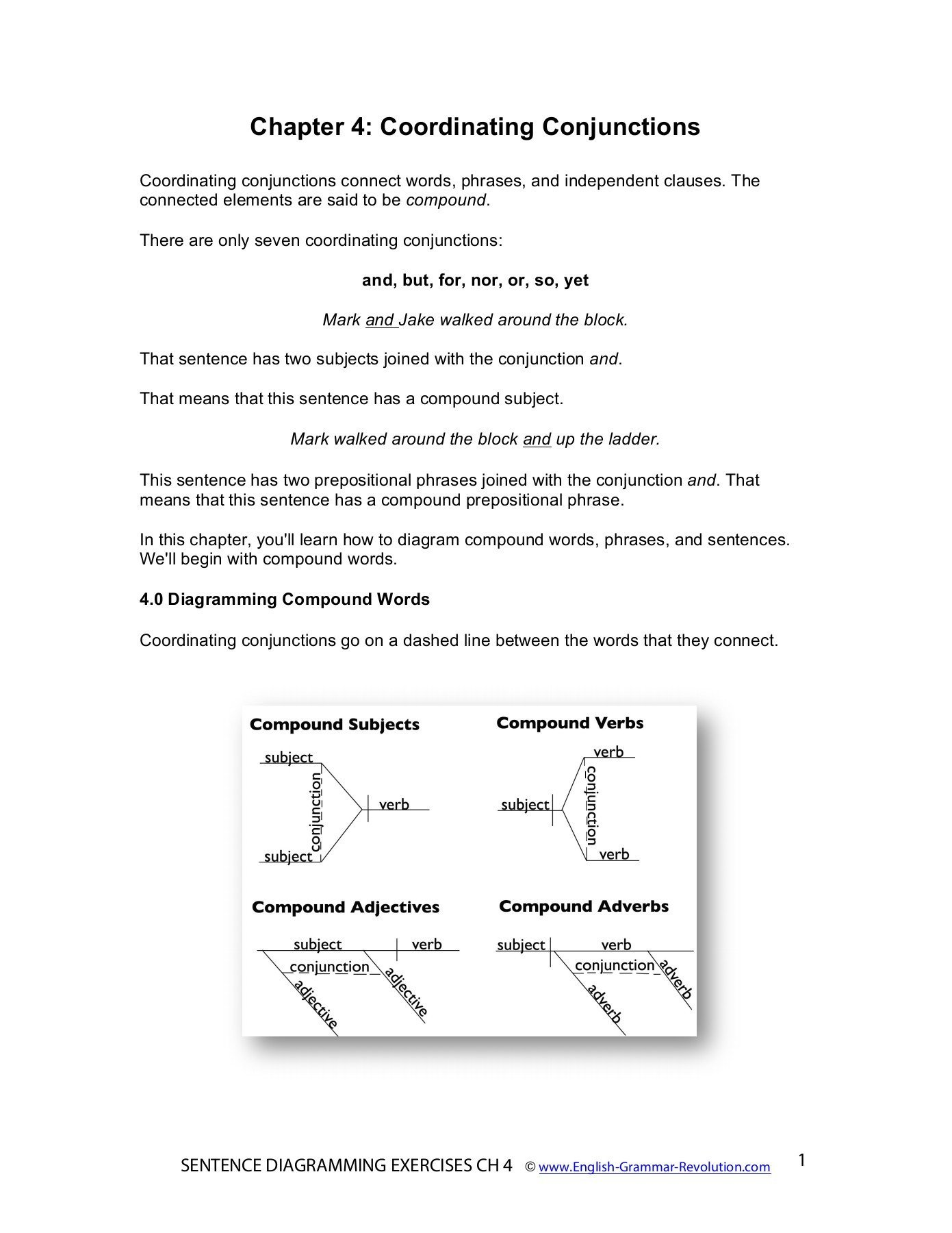 Diagramming Prepositional Phrases Worksheet Chapter 4 Coordinating Conjunctions Pages 1 17 Text