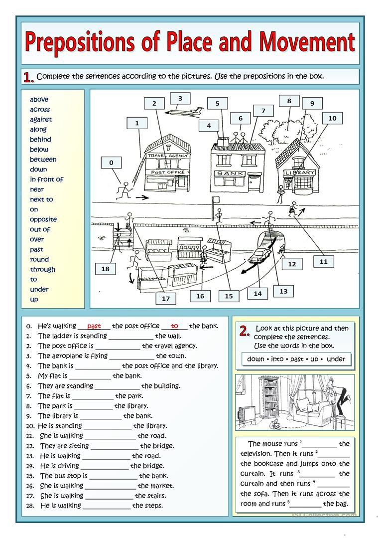 prepositions of place and movement and places in t grammar drills picture description exercises tests 1