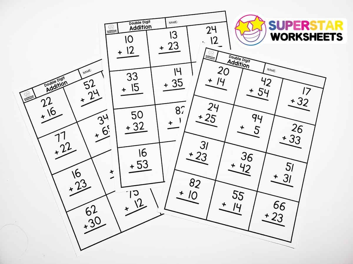 Doubles Math Fact Worksheets Double Digit Addition without Regrouping Superstar Worksheets