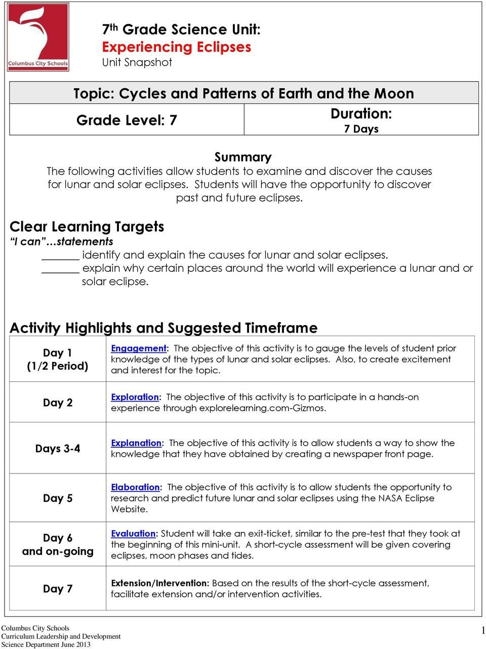 Eclipse Worksheets for Middle School topic Cycles and Patterns Of Earth and the Moon Grade Level