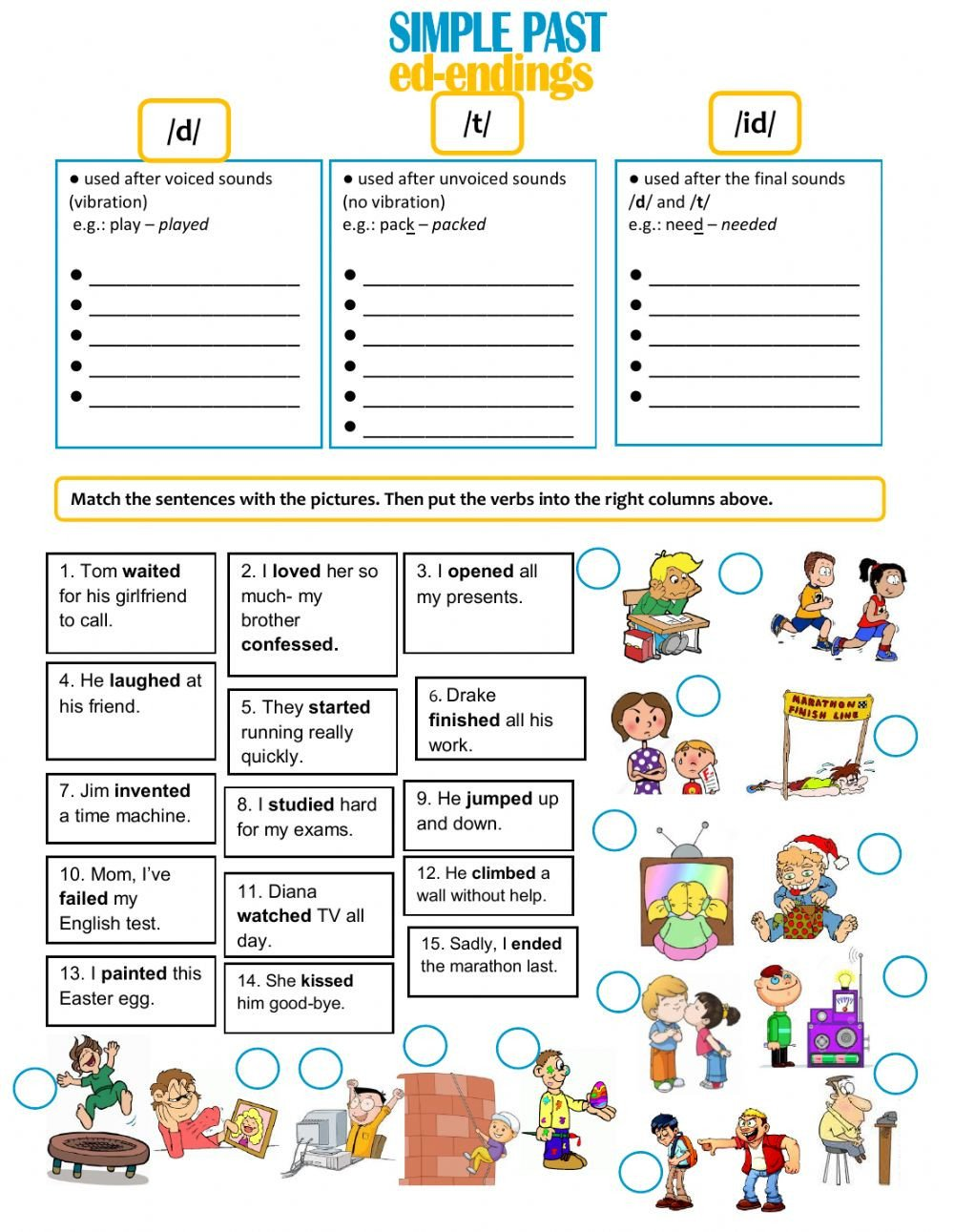 Ed Ending Worksheets Ed Endings Interactive Worksheet