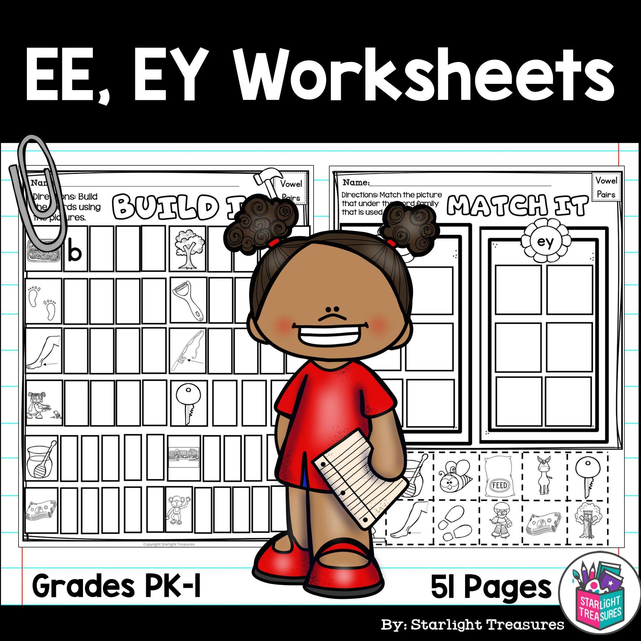 Vowel Pairs EE EY Worksheets and Activities for Early