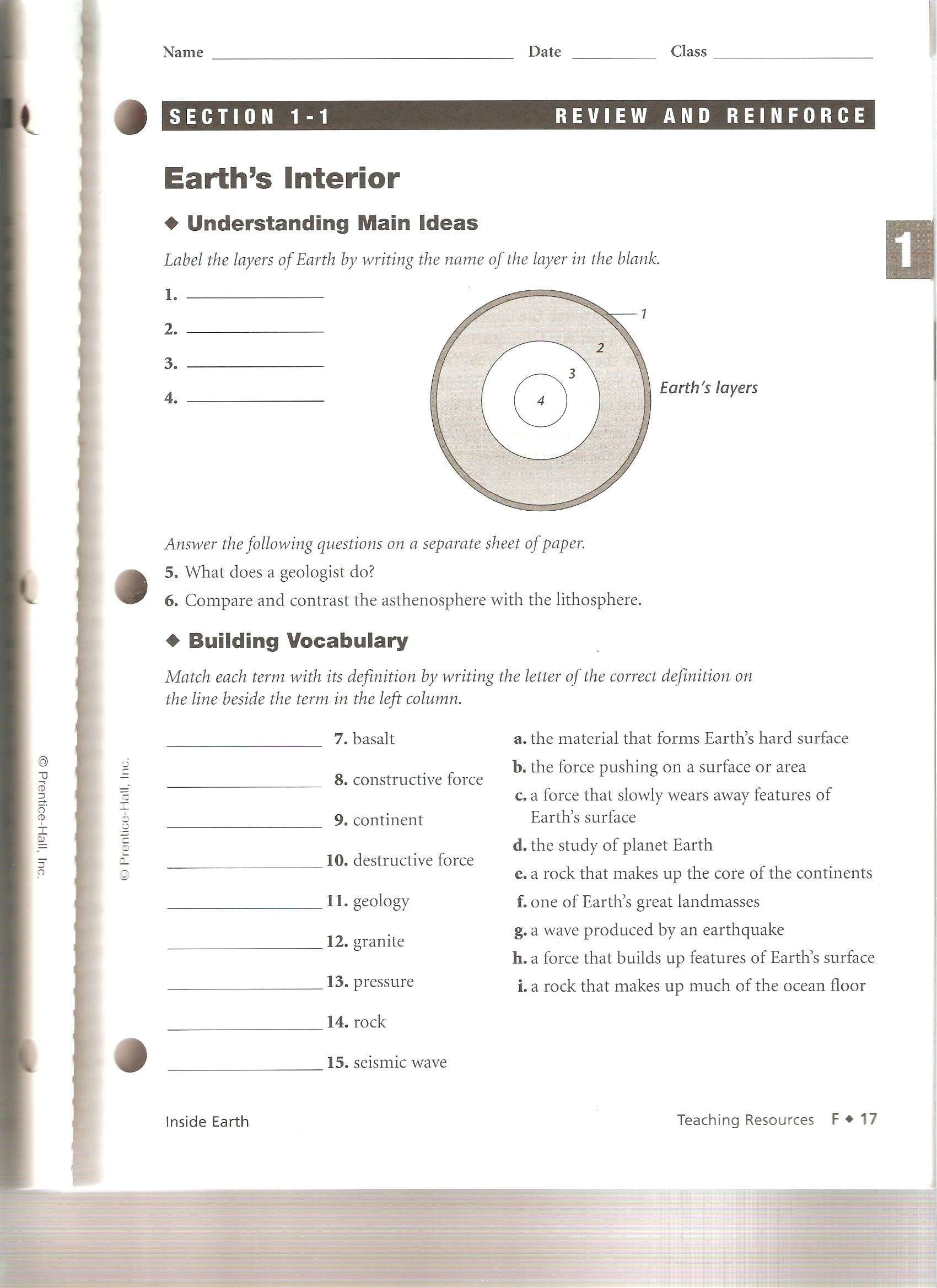 vaap worksheets for 8th grade science