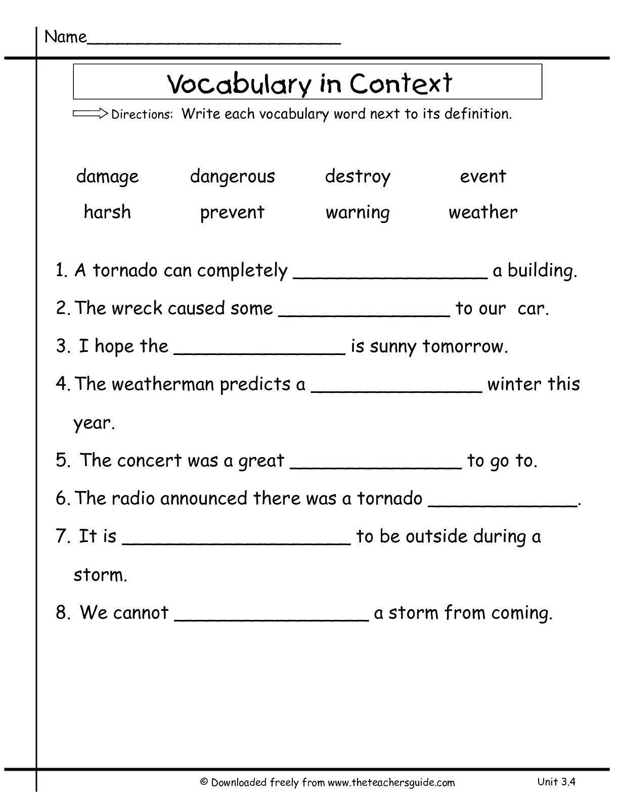 Eighth Grade Vocabulary Worksheets 3rd Grade Vocabulary Worksheets for Educations 2nd Two Step