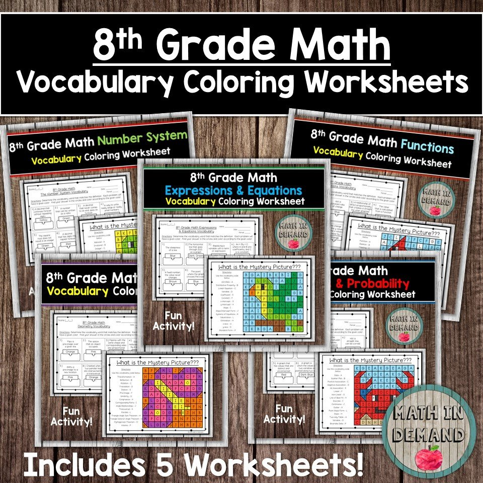 Eighth Grade Vocabulary Worksheets 8th Grade Math Vocabulary Coloring Worksheets