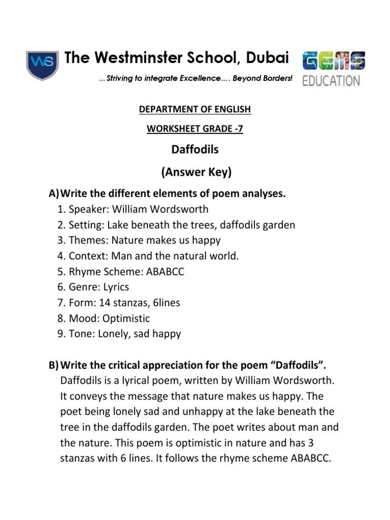 Elements Of Poetry Worksheets ]daffodils Answer Key Poetry