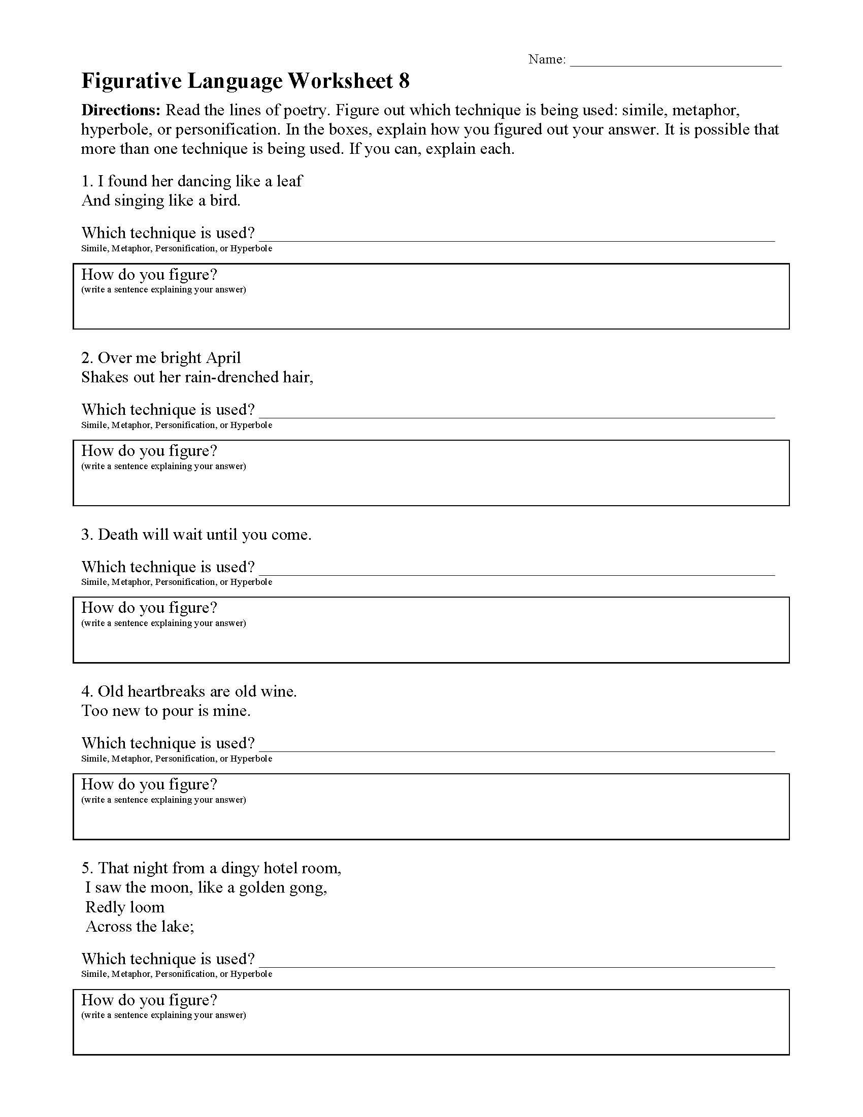 figurative language worksheet 08 01
