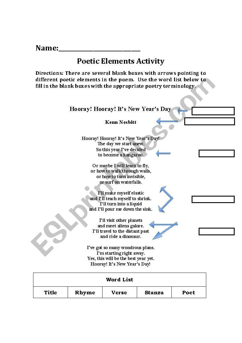 Poetic Elements ESL worksheet by Fairy1987
