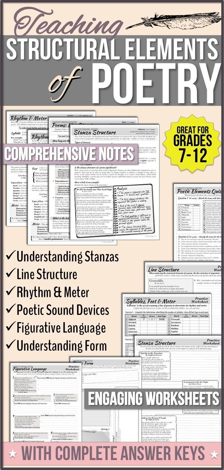 Elements Of Poetry Worksheets Structural Elements Of Poetry Unit Notes & Worksheets